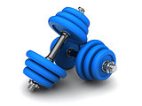 blue dumbells