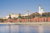 View of Moscow Kremlin by Moscow river, Russia.