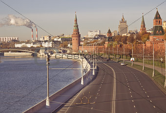 Autumn view of Moscow Kremlin by Moscow river, Russia.
