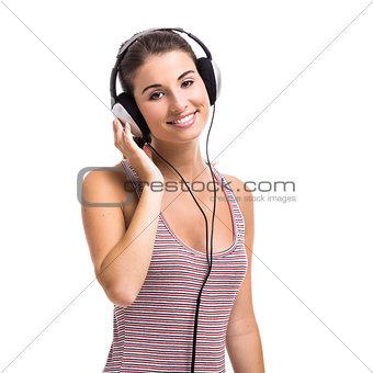 Beautiful woman listen music