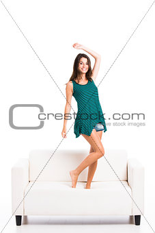 Beautiful woman in the sofa