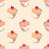 Seamless vector pattern or tile texture with cherry and hearts cupcakes and white polka dots on pink background.