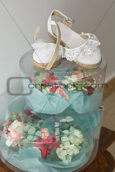 Bridal headdress and baby girl shoes