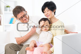 Asian family portrait indoor