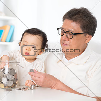 Asian family saving money