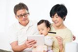 Asian family online shopping