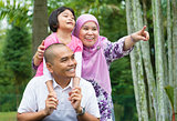 Asian Muslim family outdoor