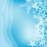 Blue sea and starfish illustration