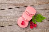 Pink raspberry macaron cookies