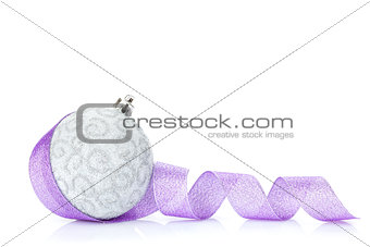 Christmas bauble and purple ribbon