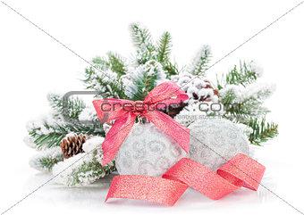 Christmas colorful decor and snow fir tree