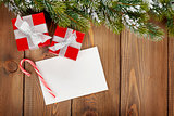 Christmas gift boxes and greeting card