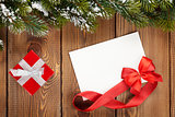 Christmas gift box and blank greeting card