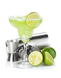 Classic margarita cocktail with salty rim