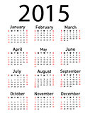 Simple 2015 year vector calendar
