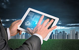 Man hands using tablet. Virtual elements on touchscreen