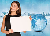 Businesswoman hold paper sheet
