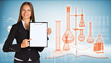 Businesswoman holding paper holde. Wire-frame flasks chemistry lab