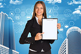 Businesswoman holding paper holde. Building and hexagons with icons