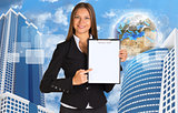 Businesswoman holding paper holde. Building and Earth