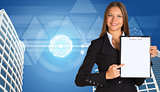 Businesswoman holding paper holde. Building and transparent triangles
