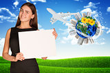 Businesswoman holding empty paper. Earth with buildings and nature landscape