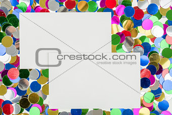 small color confetti and empty card