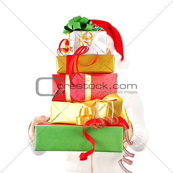 Santa girl with many gifts