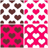 Seamless pink, brown and white vector background set with hearts