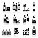 Alternative investments - investing money in wine and whisky icons