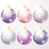 vector winter holiday illustration of christmas balls isolated on whte background.