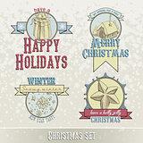 set of Christmas emblems and designs