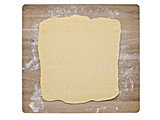 puff pastry dough on baking board
