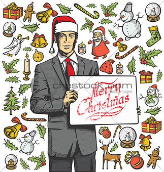 Christmas Card With Man