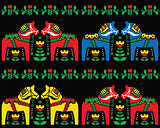 Swedish Dala horse folk art seamless pattern on black