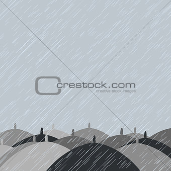 Autumn background with  rain and umbrellas