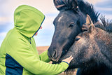 Woman with Icelandic Ponies