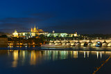 Prague Castle and Charles Bridge at night, Czech Republic