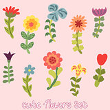 Cute vintage hand drawn flowers set