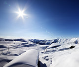 Ski resort and sky with sun