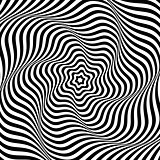 Abstract op art background. Illusion of wavy rotation movement.