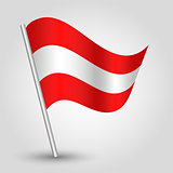 vector 3d waving austrian flag on pole