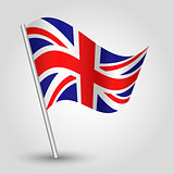 vector 3d waving english  flag on pole