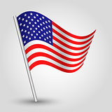 vector 3d waving american flag on pole - national symbol of United States of America USA with inclined metal stick