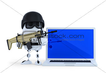 Armed robot with laptop. Techology security concept. Isolated on white background. Contains clipping path