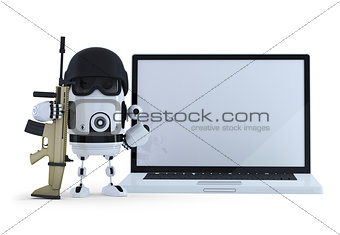 Armed robot wih blank screen laptop. Thechology protection concept. Isolated. Contains clipping path of entire scene and laptop screen