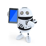 Robot Holding A Tablet. Isolated. Contains clipping path