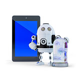 Robot with tablet computer. Computer security concept. Isolated. Contains clipping path of entire scene ant tablet screen