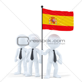 Business team holding flag of Spain. Isolated. Contains clipping path