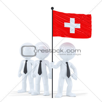 Business team holding flag of Swiss. Isolated. Contains clipping path